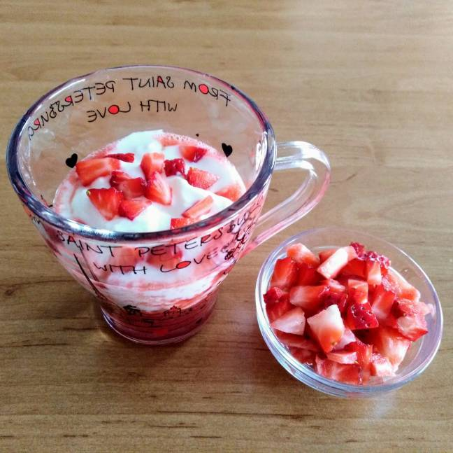 Fresas con yogur natural